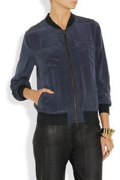 Equipment | Abbot washed-silk bomber jacket | NET-A-PORTER.COM