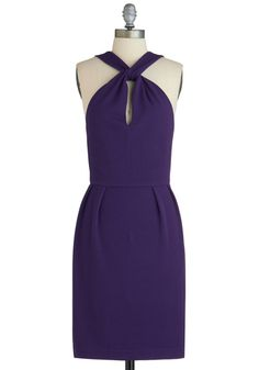 Plum On Up Dress - Mid-length, Purple, Solid, Party, Sheath / Shift, Fall, Cutout, Halter