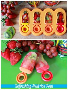 DIY Refreshing fruit ice pops - perfect for summer! Need to find this mold from Haba Ice Pop Recipes, Strawberry Recipes, Summer Recipes, Baby Food Recipes, Sweet Recipes, Snack Recipes, Dessert Recipes, Cooking Recipes, Snacks