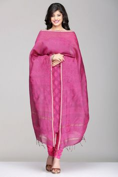 Purple & Pink Maheshwari Tussar Silk Unstitched Suit With Leaf Motif Hand Block Print & A Gold Zari Border