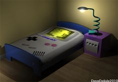 Nintendo Game Boy Bed with Game Cube Bedside Table. Aubree wants! Aubree wants so bad!