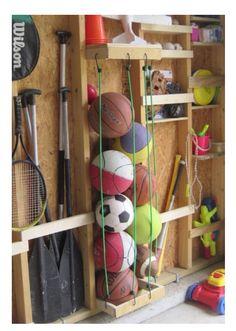 Bunjee chords for sports ball storage! Genius!!!