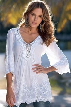 Boston Proper Eyelet Boho Peasant Blouse Tunic ... tend to like the Peasant tops