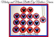 Mickey and Minnie Lot of 15 Bottle Cap by PrettyPartyPrints, $17.99