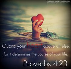 I remember doing a devotion on this one time.. Proverbs 4:23 is a great verse and a life lesson :)