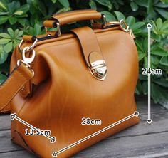 Custom Handmade Tan Brown Leather Satchel Bag, Doctor Bag, Messenger Shoulder Bag D015 / MoshiLeatherBag