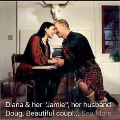 The author of the Outlander series & her husband.