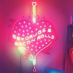 Hell yeah!     'Sex drugs & bacon rolls' chris bracey neon