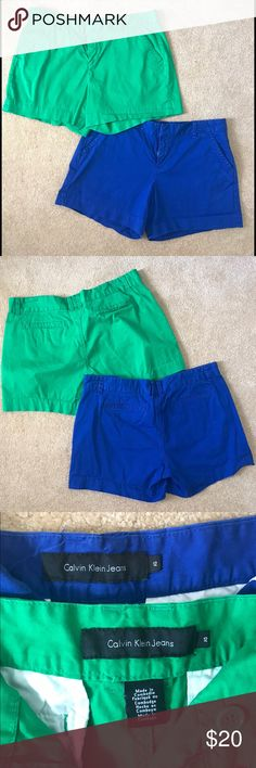 Calvin Klein Blue & Green Shorts 2 pairs of Calvin Klein shorts. One blue, one green! Very comfortable shorts with pockets and button closure on waist. Both size 12. $24 for both! Willing to sell separately. Great condition- Only worn once! Calvin Klein Shorts