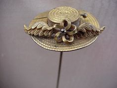 "Vintage Antique 8"" Brass hatpin Hat Pin Womens Straw Hat Form Shape"