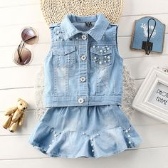 858e85494 Retail Kids 2017 baby girls clothes summer girls clothing sets kids clothes  girl Denim T-shirts+Denim skirt sets years 2