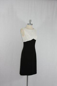 Vintage Dress  1960's Black and White by VintageFrocksOfFancy