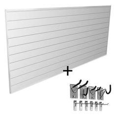 product image for Proslat Mini Bundle 8-Foot x 4-Foot & 10-Piece Mini Hook Kit in White