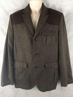 H&M Herringbone Tweed Hunting Blazer Jacket Brown Wool Blend Faux Suede Trim 44R #HM #ThreeButton
