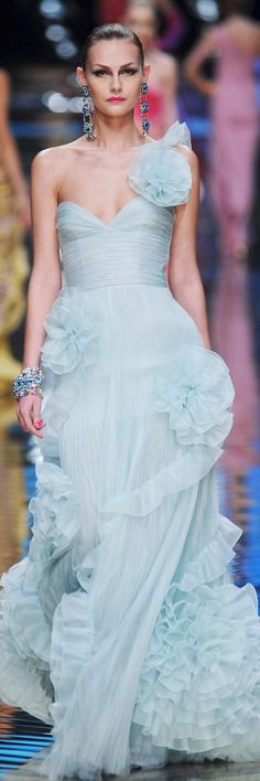 Valentino Spring 2008 Couture - aqua ruffled evening gown
