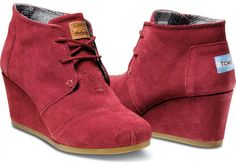 Burgundy Suede Women's Desert Wedges #commissioned