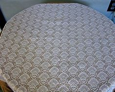 """small lace tablecloth shell pattern 29"""" x 30"""" pure white"""