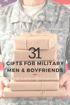 31 Gifts For Military Men & Boyfriends Army Boyfriend Gifts, Deployed Boyfriend, Army Gifts, Christmas Gifts For Boyfriend, Boyfriend Presents, Marine Gifts, Navy Boyfriend, Military Girlfriend, Present For Husband