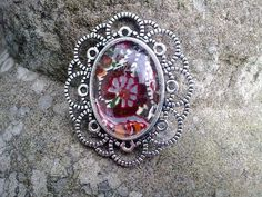 Silver Tone Retro Style Brooch with Vintage Liberty Fabric £8.00