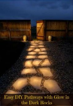 "Glowing pathway rocks tutorial - Line a pathway with rocks painted in glow in the dark paint. During the day they ""charge"" in the sun and in the evening they reflect the stored light. Rust-Oleum Glow in the Dark Brush-on Paint. (jp)"