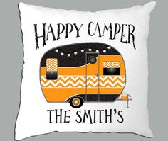 Happy Camper Orange Chevron  Personalized 14x14 by PillowRiot