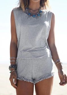 Solid Tassel Splicing Backless Sexy Romper #casual #fashionoutfits #romper  #style