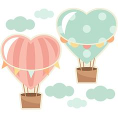Heart Hot Air Balloons: Miss Kate Cuttables-- scrapbook cut file cute clipart files for silhouette cricut pazzles free svgs free svg cuts cute cut files Ballon Illustration, Hot Air Balloon Clipart, Faire Part Photo, Cute Clipart, Cute Cuts, Cute Images, Silhouette Design, Painted Rocks, Digital Scrapbooking
