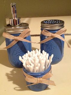 3 pc. Chic/Rustic Mason Jar Bathroom Set - w/ free framed picture to match - country blue on Etsy, $20.00