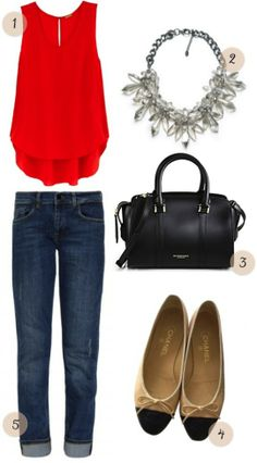 Ideal Closet: Rebecca Minkoff top, Zara necklace, Burberry bag, Chanel ballet flats, Vistoria Beckham jeans