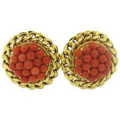 Large Coral Gold Earrings