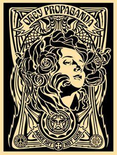 ☯☮ॐ American Hippie Psychedelic Art ~ OBEY Shepard Fairey street artist . . revolution OBEY style, street graffiti, illustration and design posters ~ Propaganda_Make Art Not War