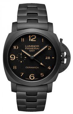 Officine Panerai PAM00438 Luminor Tuttonero GMT Ceramic. #panerai - черные - швейцарские мужские наручные часы