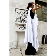 Loose White Top Exclusive Soft Light Fabric Asymmetric Vest... ($59) ❤ liked on Polyvore featuring tops, tunics, black, vests, women's clothing, long vests, white sleeveless tunic, long tunic, long white tunic and white tunic