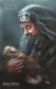 Dit is Hagrid. Hij is de terreinknecht van Zweinstein en een goeie vriend van mij. Hij was ook diegene die me bracht naar mijn nonkel en tante, na de dood van mijn ouders.