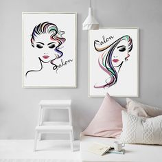 Beautiful Girl Hair Salon Canvas Art Print Poster , Hair Salon Canvas Painting Wall Pictures Hairdressing Shop Decoration #Affiliate