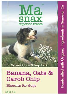 Ma Snax Banana Carob Chip & Coconut Biscuit label