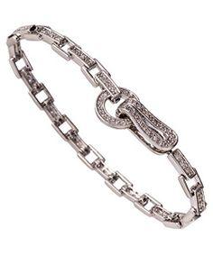 White Gold Square Link Bracelet
