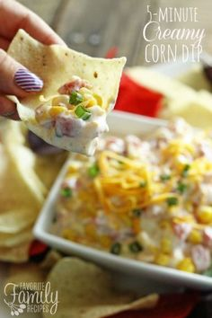 Easy Creamy Corn Dip - This is one of my favorite dips ever, mainly because it is SO EASY to throw together. You can literally throw it together and serve in 5 minutes… however, if you want to let the flavors combine (and make it taste even BETTER), cover and refrigerate at least a few hours.