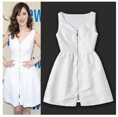 Boutique Fashion Celebrity Style Women's New Elegant Summer Cute Party Dress Sleeveless Zipper V-Neck Casual Tank Dresses White