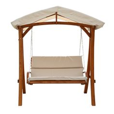 Leisure Season Wooden Swing with Canopy