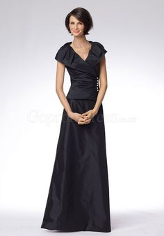 A-line V-neck buttons Floor-Length Taffeta Mother of the Bride Dresses - Gopromdress.co.uk