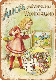 1902 Alice in Wonderland First Edition Vintage Look Metal Sign Alice Book, Alice In Wonderland Book, Adventures In Wonderland, Lewis Carroll, Victorian Books, Antique Books, Vintage Books, Inspiration Artistique, Doodle
