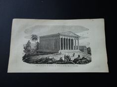 Parthenon Athens 1839 small antique by DecorativePrints on Etsy