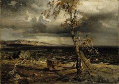 Werner Holmberg - Myrsky Näsijärvellä - Storm at Näsijärvi 1860 - Finland National Gallery, Exhibition Display, Realistic Paintings, Ex Libris, Cool Artwork, Landscape Art, Art Museum, Mystic, Fairy Tales
