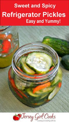 Sweet and Spicy Refrigerator Pickles Refrigerator Pickles - Sweet and Spicy - Jersey Girl Cooks Spicy Pickles, Homemade Pickles, Sweet Pickles, Spicy Pickle Recipes, Canning Recipes, Canning Tips, Jar Recipes, Kitchen Recipes, Copycat Recipes