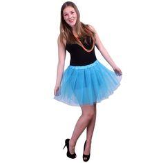 Tule verkleed rokje voor dames in het blauw. One size model.