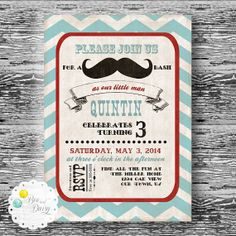 Vintage Mustache Invitation for Birthday Party or by BeeAndDaisy, $13.00