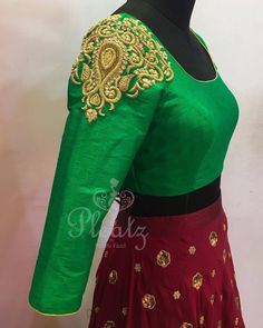 Bridesmaid crop top and skirt. Beautiful green color designer blouse with hand embroidery gold thread work on shoulder. Beautiful maroon color lehenga with hand embroidery zardosi work. code : 5917 05 September 2017