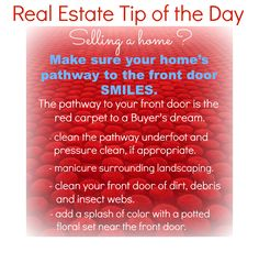 Make sure your home's pathway to the front door Smiles; your Real Estate Tip of the Day. #realestate #homesellingtips