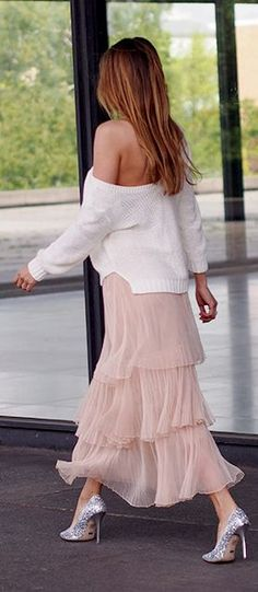 Nude Tulle Skirt Styling #Fashionistas